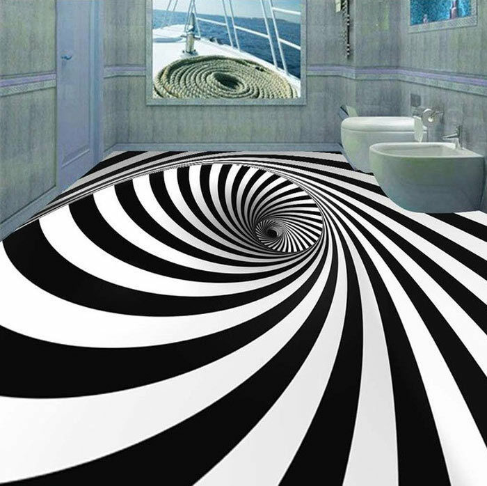 3D Vortex Ring Inside Floor Mural Photo Flooring Wallpaper Waterproof Home Decal