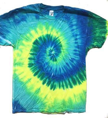 MULTI BLUE COLOR TYE DYED TEE SHIRT men women SIZE MED hippie tie dye SWIRL #505