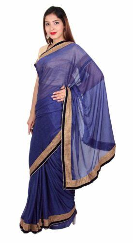 Saree Shimmer Bollywood Jurk Wedding Party 7269 Navy Apparel Indian Dames Zq6pvq