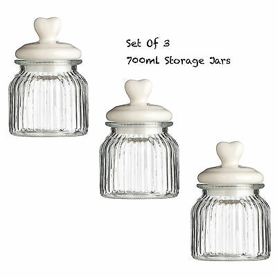 New Style Storage Jar Ribbed Glass Heart Design Lid 270ml 700ml 1450ml 1800ml
