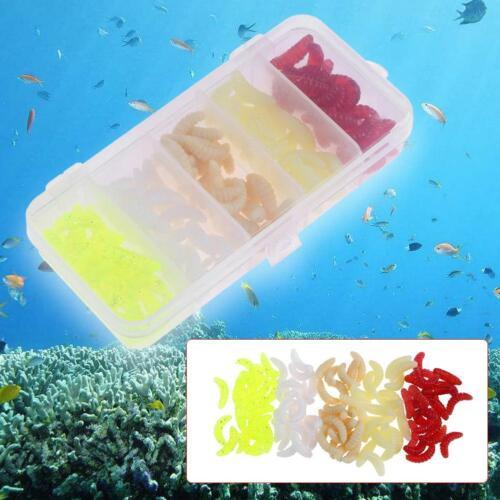 100pcs 5 Colors 24mm Soft Bread Worm Fishing Lure Rubber Maggot Bait w// Box