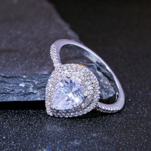 Women White Gorgeous Ring Silver 925 Wedding Size6-10 Sapphire Jewelry Pear Cut