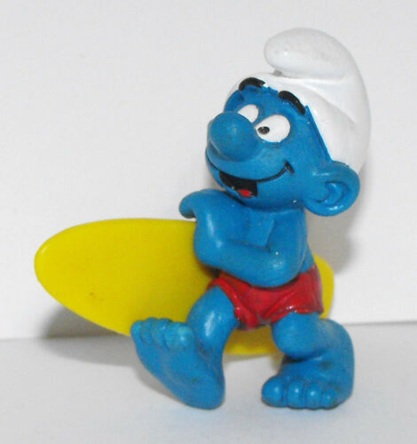 20137 Smurf Holding Yellow Surfboard Schleich 1978 Vintage Figurine