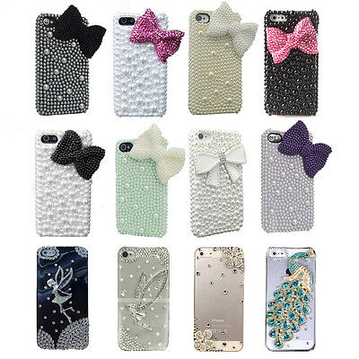 Fancy pearl bow girly diamond battery back hard case Cover for iPhone 4s 4g 5