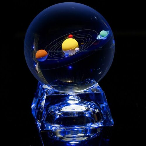3 in Erwei Solar System Mini Crystal Ball 80 mm with Crystal LED Base Colorful
