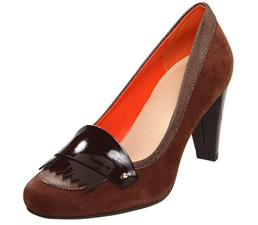 Cole Haan Braiden High Loafer Suede Pump Heel shoes Womens Chestnut 8.5 NEW