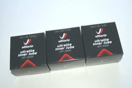 """3 x Vittoria Ultralite 26/"""" MTB Schlauch 26x1,5-2,25 AV 32mm Ventil"""