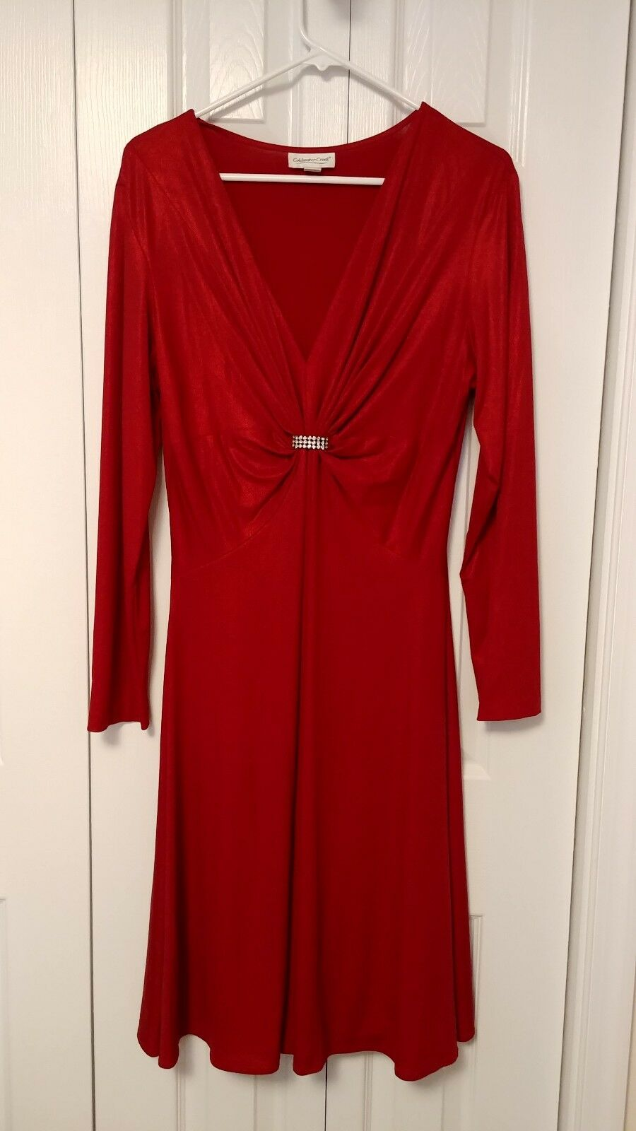 Coldwater Creek rot Dress With Crystal Accent Größe 14 - RN 98516