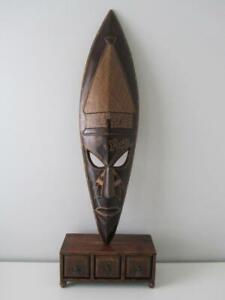 Huge 95cm Vintage Hand Carved Wooden Timber Tribal Art Mask Home Decor