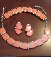 Vintage japan Lisner Thermoset Lucite necklace Bracelet & Clip Earrings Set