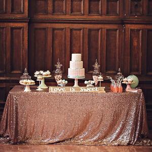 Or-Rose-a-Sequins-Paillettes-Nappe-Brillant-Table-Housse-en-Tissu-Mariage-Fete-Art