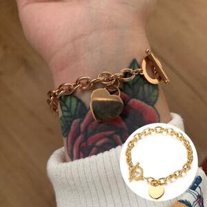 Mode Frauen Edelstahl Liebe Herz Armband Kette Armreif Schmuck Geschenk WRXUI