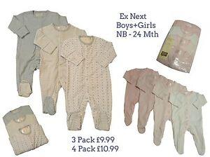 Babygrows-Pijama-Bebe-Ninas-Ninos-ne-XT-3-4-Pack-100-Algodon-Mono-corto