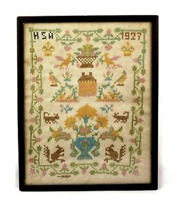 Antique 1920s Cross Stitch Linen Sampler Quote Animals Flowers Wood Frame