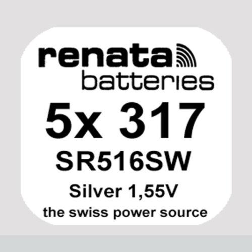 5x Renata 317 Uhren-Batterie Knopfzelle SR516SW 1,55V Silberoxid Neu