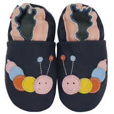 Carozoo Caterpillar Dark Blue 6-12m Soft Sole Leather Baby Shoes