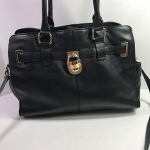 09fd4bdbce Image is loading Calvin-Klein-Modena-Black-Leather-Gold-Hardware-Handbag-