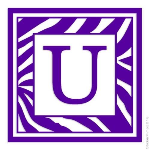 Zebra Font U Initial Decal Sticker Choose Color Size #3309