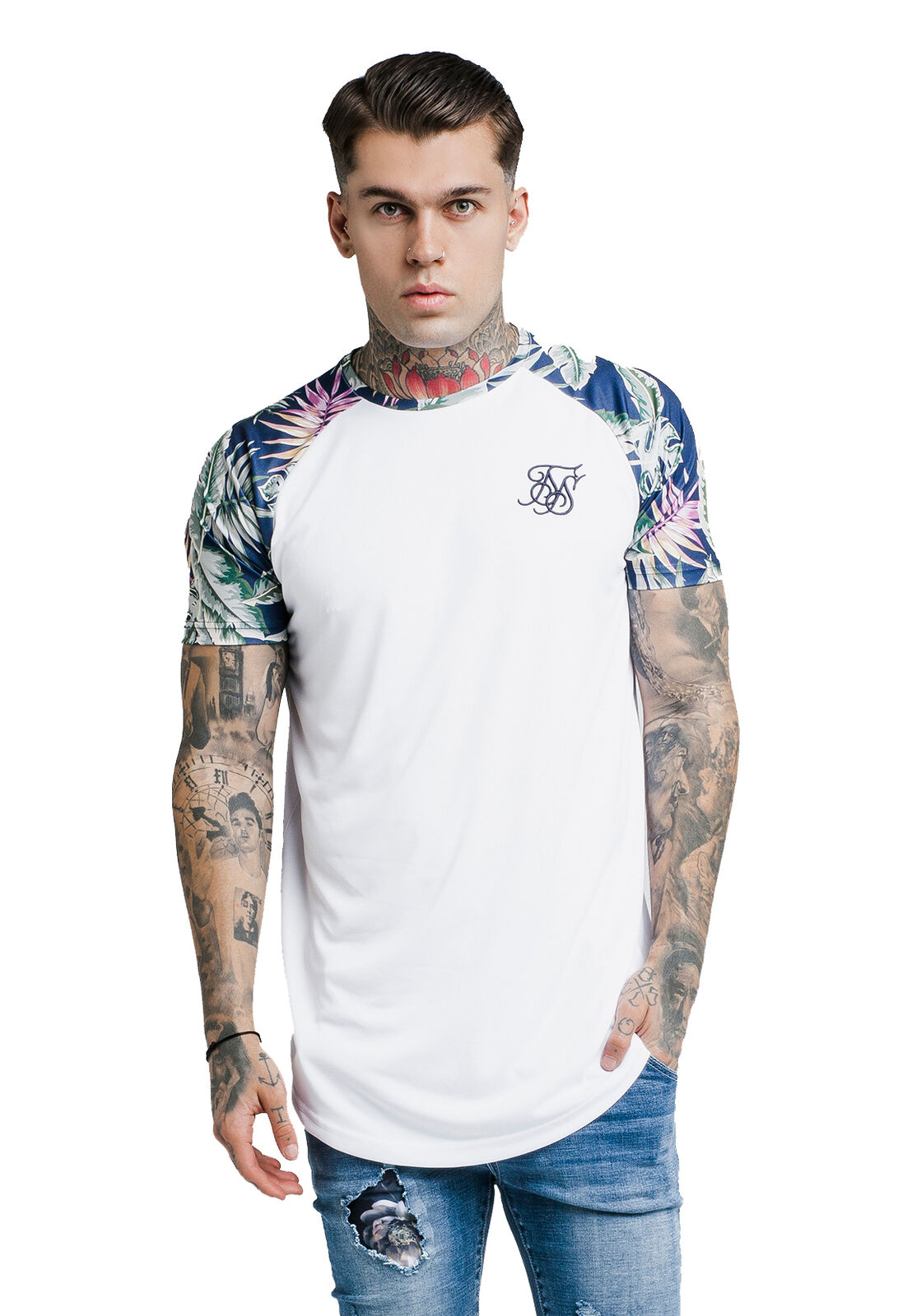 SikSilk Herren T-Shirt SS JEREMEY VINE RAGLAN CURVED HEM TEE SS-13820 Weiß