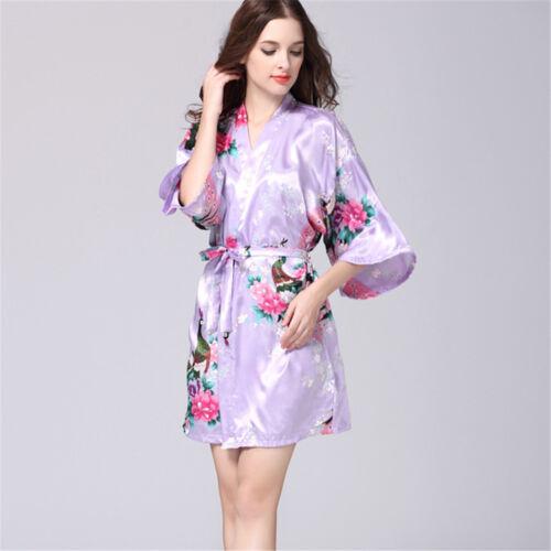 Women Floral Silk Bath Robe Loose Fit Kimono Robe Dressing Gown Nightwear S-2XL