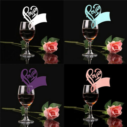 50Pcs Name Place Cards For Wedding Party Table Wine Glass Decoration Lot P5