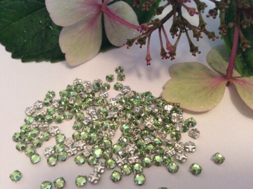 Swarovski Rose Montees Vintage 3mm 12ss Peridot Prong Set Pack 30 Post Free