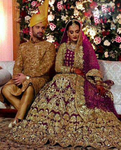 LONG BLOUSE CHOLI LEHENGA PAKISTANI WEDDING SANGEET BRIDAL MAGENTA LENGHA HEAVY