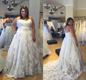 Details about Strapless Lace Plus Size Wedding Dress Cheap Bridal Gown  Court Train Crystals