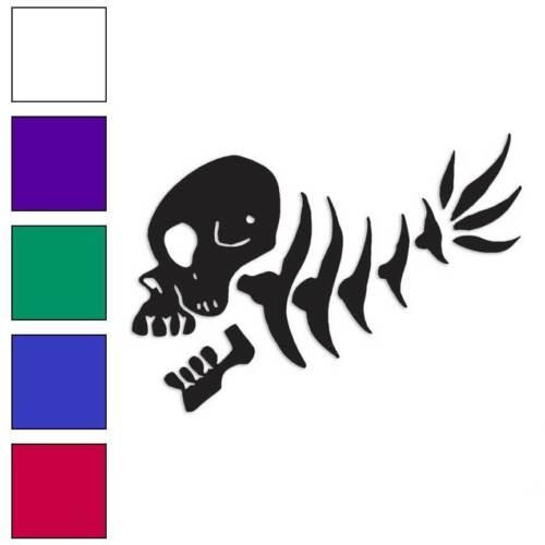 Fish Bones Skull Skeleton Decal Sticker Choose Color Size #293