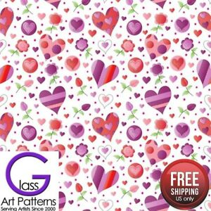 Heart-amp-Flower-Fused-Glass-Decal-Ceramic-Waterslide-Fusing-Sheet-8-5-inch-Square