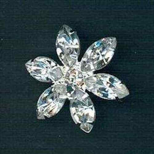 Caña en forma de flores 20 mm Diamante Botón-Cristal//níquel