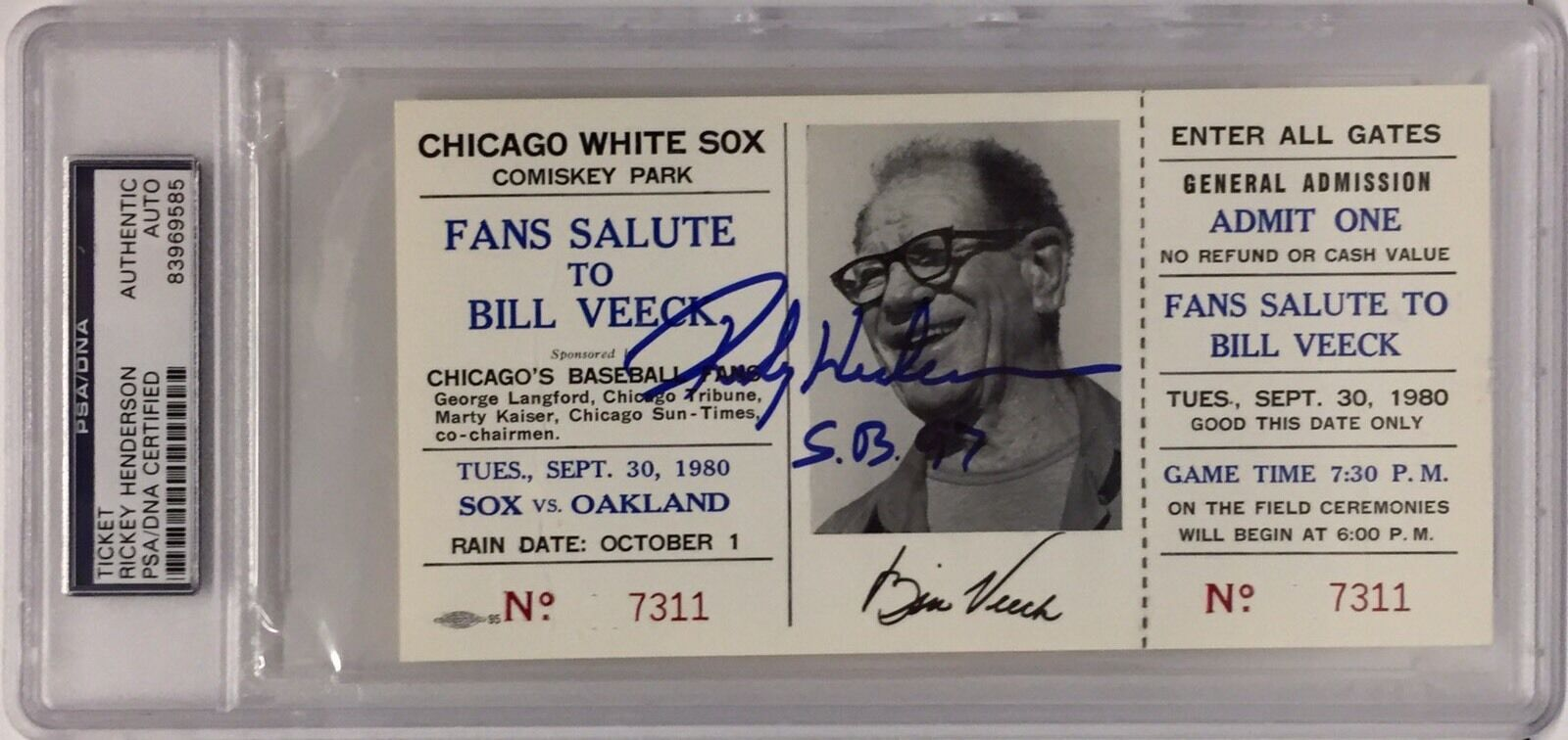 Rickey Henderson Signed Salute To Bill Veeck Baseball Ticket