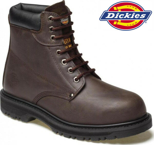 Mens Dickies Cleveland Leather Safety Boots Steel Toe Cap Work Ankle shoes 6-12