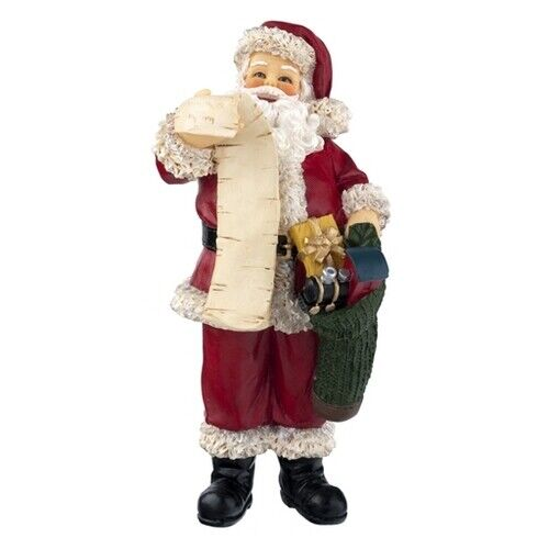 Miniature Dollhouse Figurine ~ CHRISTMAS Standing SANTA Claus w// List /& Toy Sack