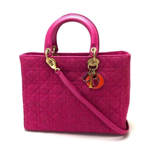 CHRISTIAN DIOR Lady Dior Shoulder Bag Hand Bag 2wa