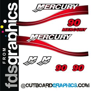 Mercury 90hp two stroke outboard decals//sticker kit