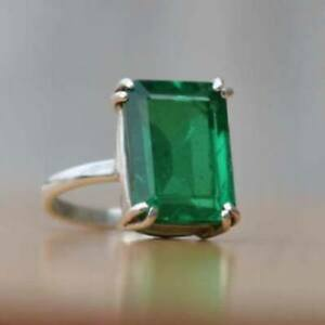 925-Sterling-Silver-Natural-Colombian-Emerald-Octagon-Shape-Ring-X-mas-Day-Sale