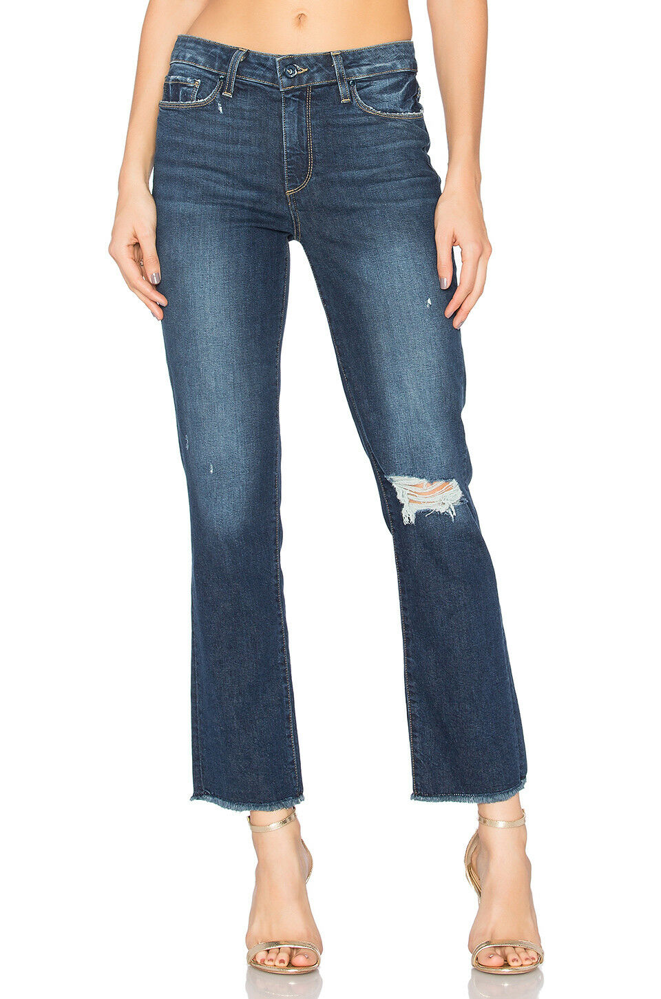 Paige Jacqueline straight Domino destructed crop jeans Raw Edge Hem sz.30 NWT