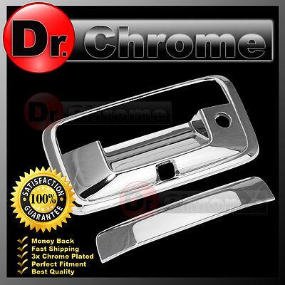 14-16 GMC Sierra 1500 Triple Chrome Tailgate Handle+Keyhole+no Camera hole Cover