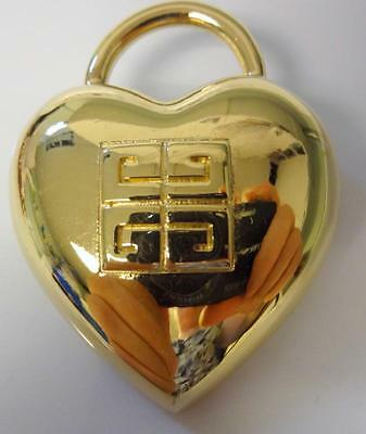 Vintage Signed Givenchy Paris New York Couture Heart Lock Pin Brooch