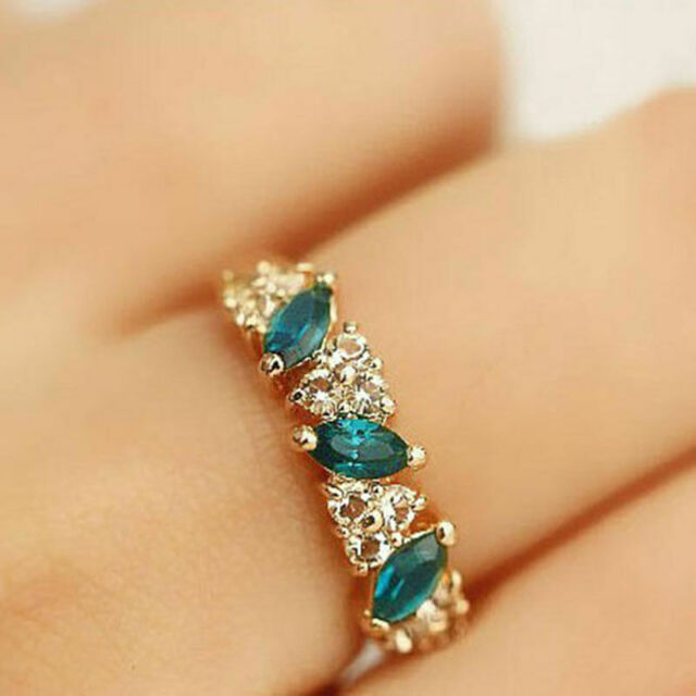 Luxus Damen Smaragdrhinestone-Kristallfinger Dazzling Ring S DE HOT Schmuck X9U9