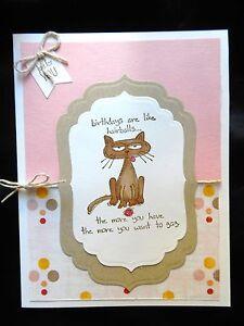 Image Is Loading Handmade Funny Cat Birthday Card Birthdays Are Like