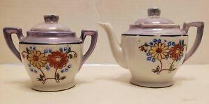 Vintage-Made-In-Japan-Tea-Set-Teapot-Sugar-Bowl-Hand-Painted-Blue-Floral