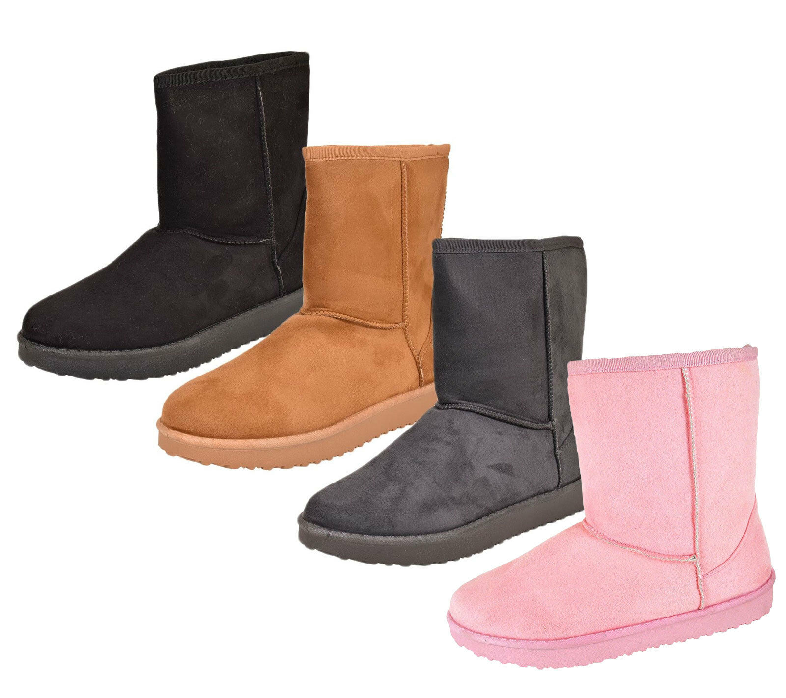 Womens Snow Boots Ladies Winter Mid Calf Length Warm Flat Faux Suede Fur shoes