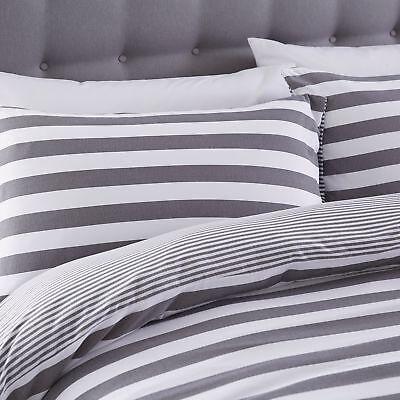 Silentnight Jersey Cotton Stripe Duvet Cover & Pillowcase Bedding Set, Grey