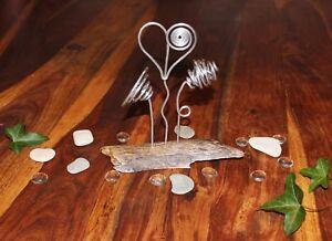 Tischdekoration Drahtfigur Blumen Arrangement 3 Alublumen Auf