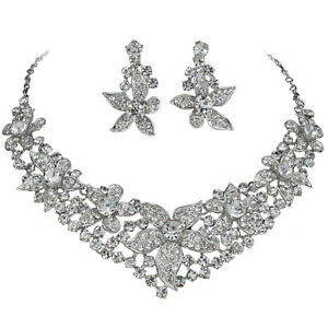 eaeab1715 Image is loading YT247-Clear-Rhinestone-Crystal-Earrings-Necklace-Set -Bridal-