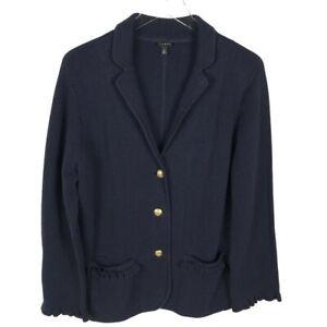 Talbots Womens Ponte Knit Blazer Button Jacket Size M Navy Blue Gold Nautical