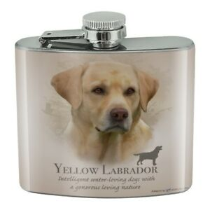 Yellow Labrador Retriever Dog Breed Stainless Steel 5oz Hip Drink