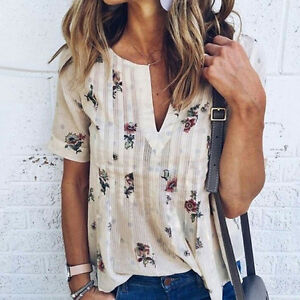 Fashion-Womens-Summer-Floral-Short-Sleeve-Shirt-Loose-Casual-Blouse-Tops-Gift
